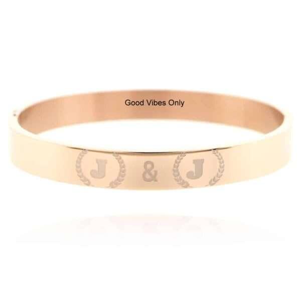 armband met initialen van roestvrij staal zilver goud rose goud