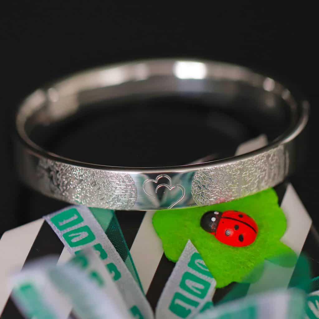 vingerafdruk armband 925 sterling zilver twee vingerafdrukken