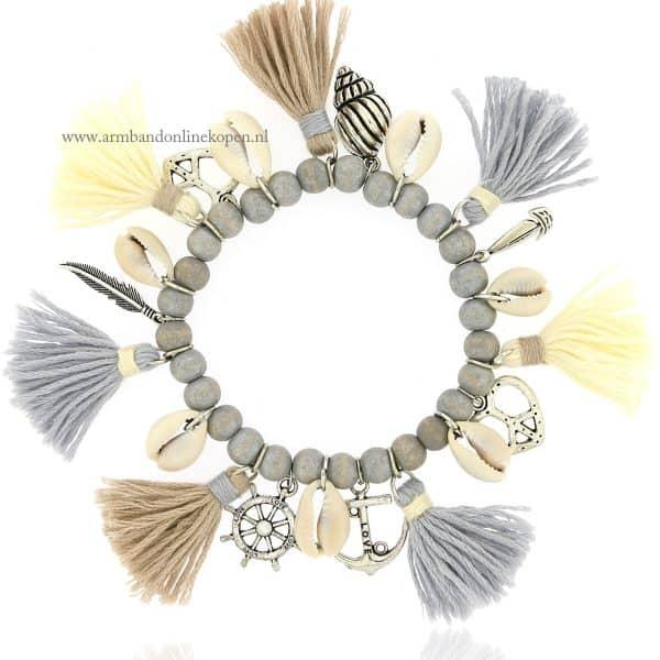 boho enkelarmband met zilver kralen anker liedfes bedels