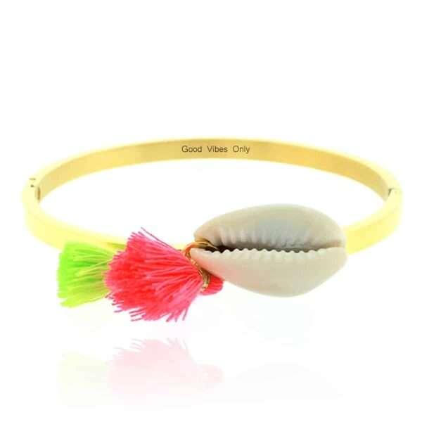 Ibiza Armband Staal met Schelp Goud