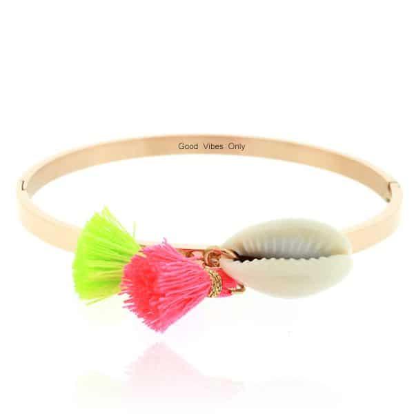Ibiza Armband Staal met Schelp Rose Goud