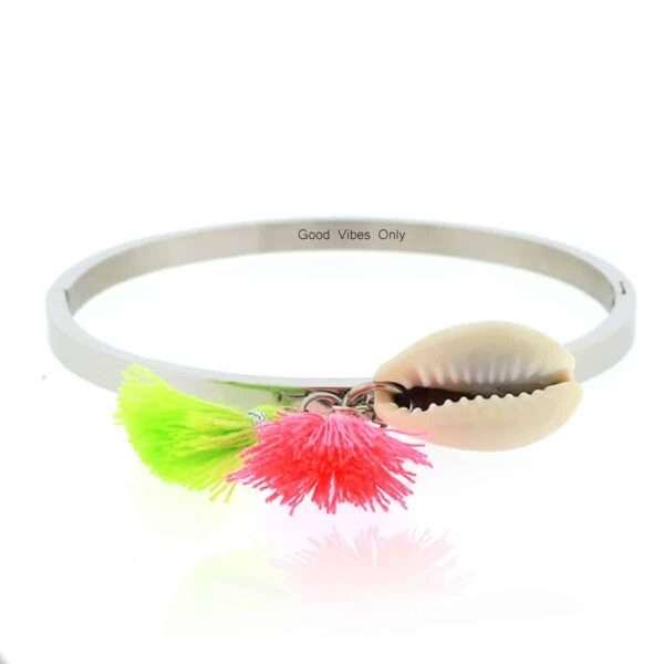 Ibiza Armband Staal met Schelp Zilver