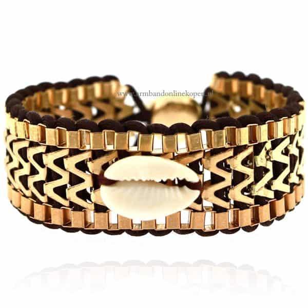 Ibiza Armband met Schelpje Bruin