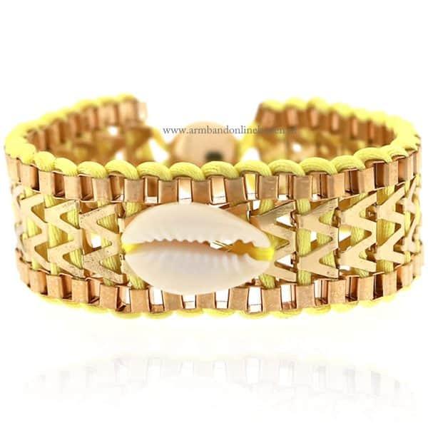 Ibiza Armband met Schelpje Geel