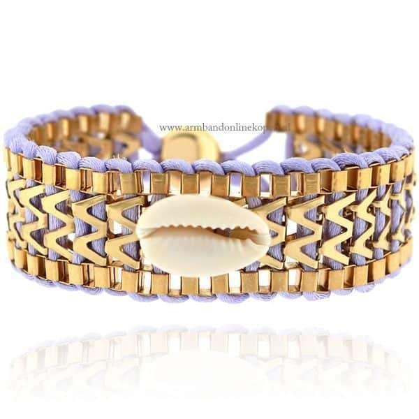 Ibiza Armband met Schelpje Lila