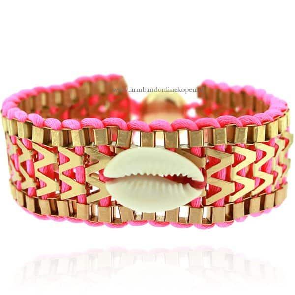 Ibiza Armband met Schelpje Magenta