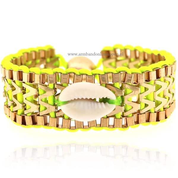 Ibiza Armband met Schelpje Neon Groen