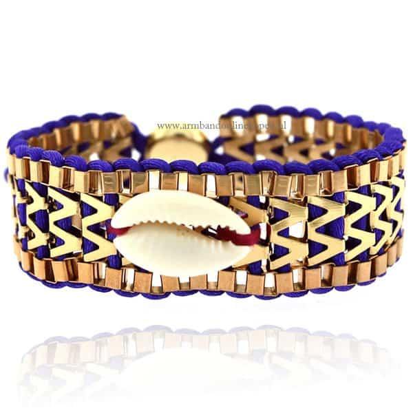 Ibiza Armband met Schelpje Paars