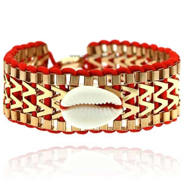 Ibiza Armband met Schelpje Rood