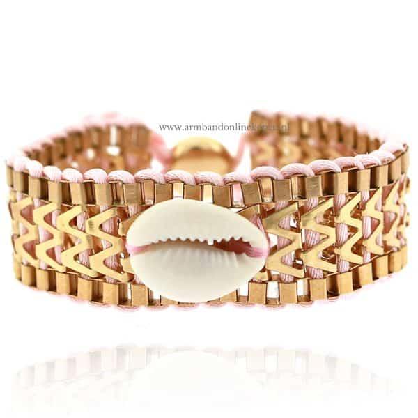 Ibiza Armband met Schelpje Zacht Roze