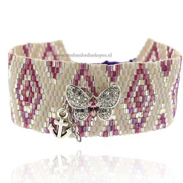 armband kraaltjes lila vlinder hartjes bedels