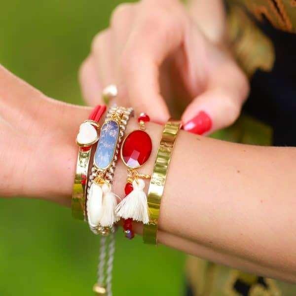 armband met steen rood goud