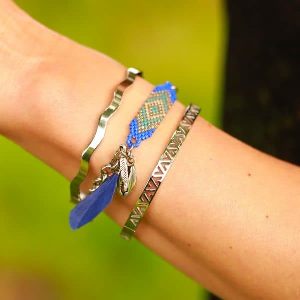 armband met zilver schelp en veer