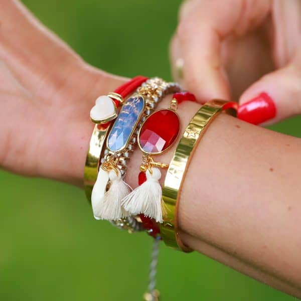 facet steen armband rood goud