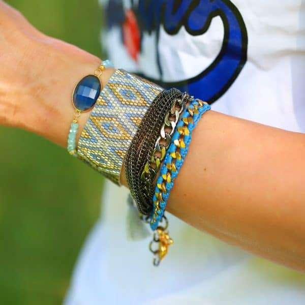 goud blauw armparty armbandjes