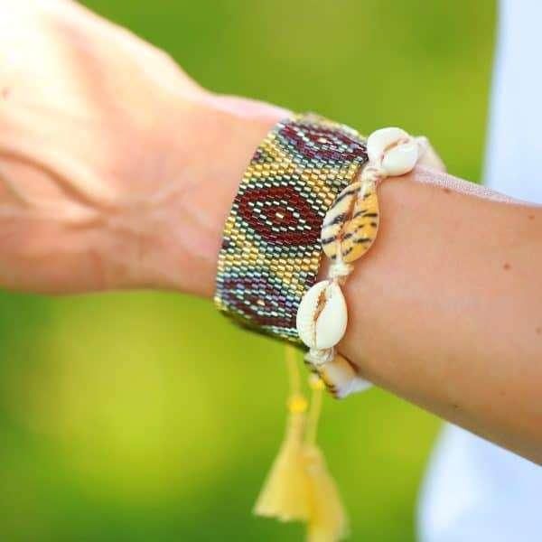 luipaard print schelp armband kopen