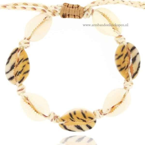 luipaard print schelpen ibiza armbanden