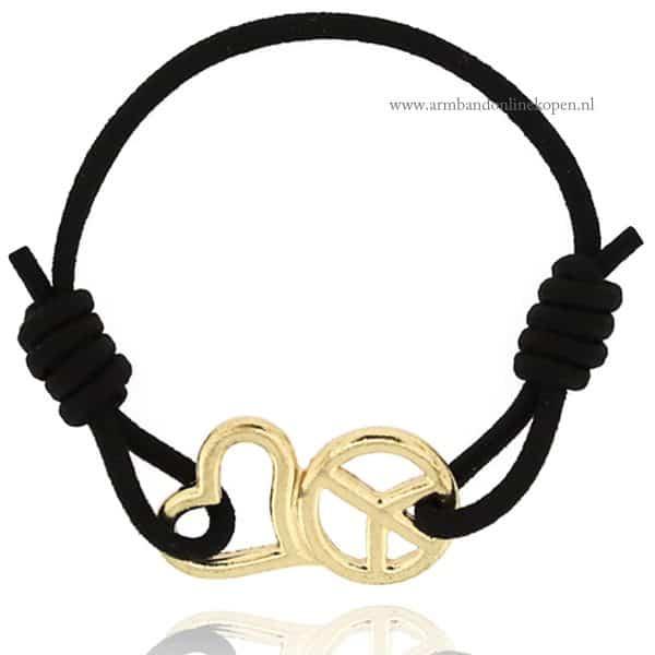 peace hartje symbool armbandje goud