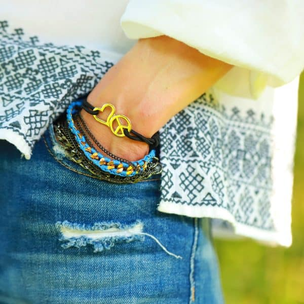 peace heart symbool armbandje goud
