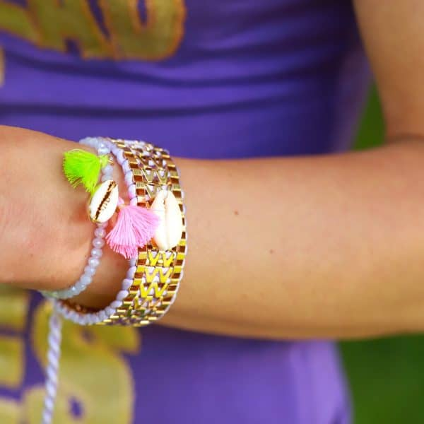 schelp armbandje goud lila