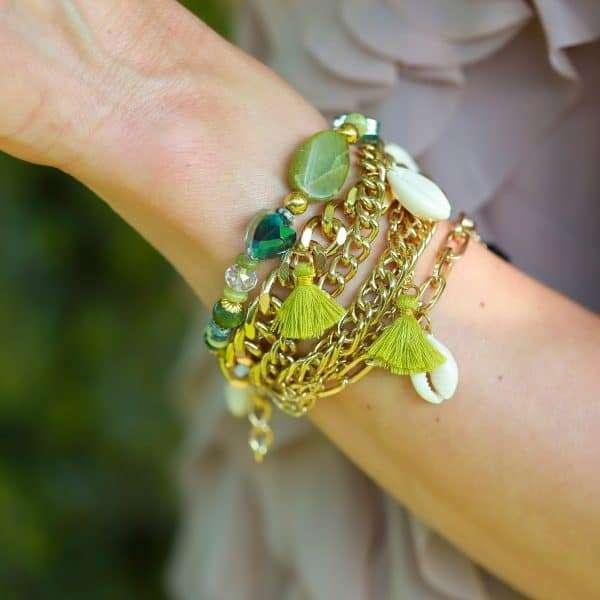 zes laggs armband met schakels en boho details