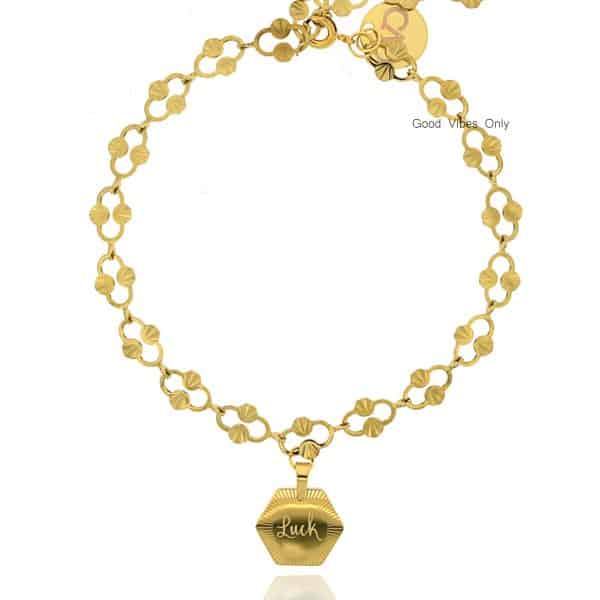 Get Lucky Good Vibes Only Armband Goud Staal