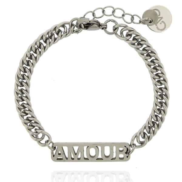 GVO staal Armband amour tekst zilver