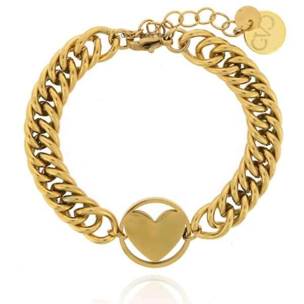 GVO stalen Armband hartje goud