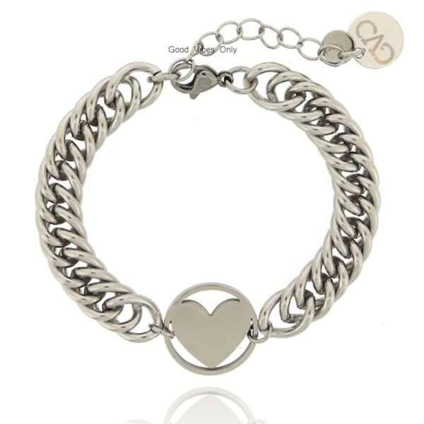 GVO stalen Armband hartje zilver
