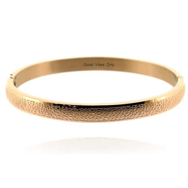 armband dames rose goud leer print