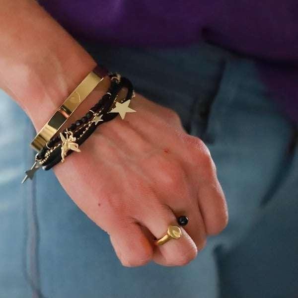 bangle armband dames staal goud
