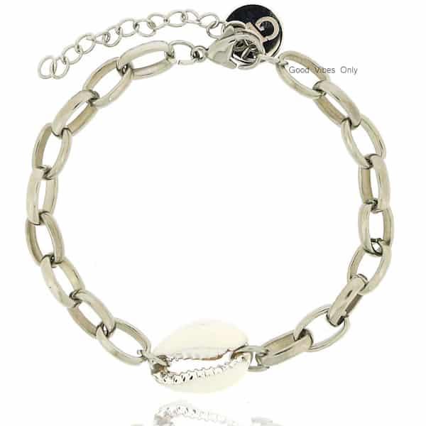 ibiza schakels armbandjes met schelp 2021 zilver