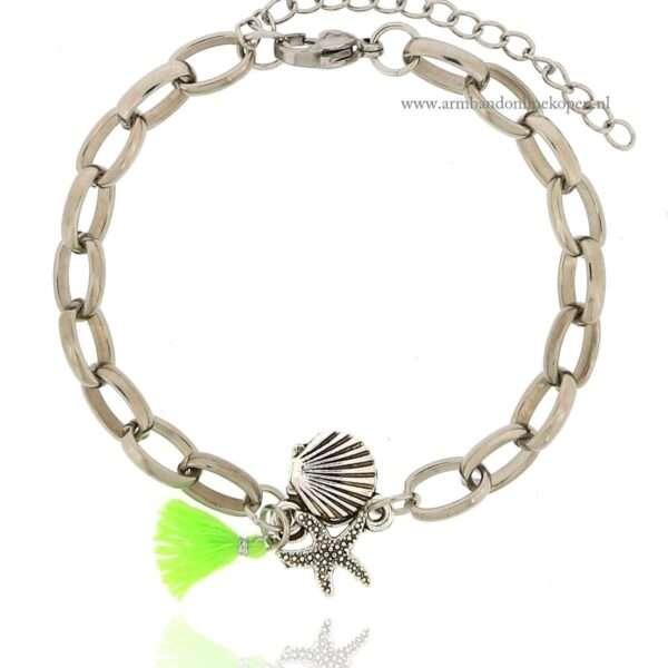 Boho Armband met Zilverkleurige Schelp