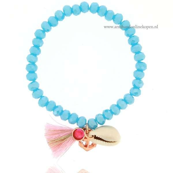 Kralen Armbandje met Schelp Aqua Blue
